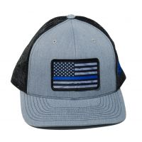 Richardson Custom Thin Blue Line Flag Sublimation Patch Heather Grey/Black OSFM Ballcap 112HGB-BLUELINE