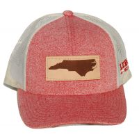 Richardson Heather Red/Cream Mesh Back Trucker Ball Cap with Leather Patch 115CH-REHBI-NC