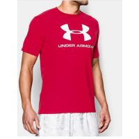 Under Armour Red/White UA Sportstyle Logo Mens T-Shirt 1257615-600