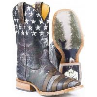 Hunter Pride Brown Square Toe Tin Haul Mens Western Cowboy Boots