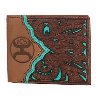 Hooey Men's Tooled with Tan, Brown and Turquoise Cut Out Bi-Fold Wallet 1799138W8