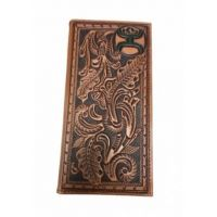 Hooey Western Mens Brown Wallet Rodeo Leather Tooled Floral Saddle Brown 1824137W3