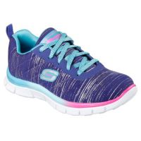 Skechers Appeal Glitter Rush Blue Multi Canvas Girls Running 81834L-BLMT