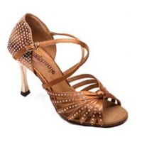 2090-45 Tan with Crystal Accent Womens Ballroom Dance Shoes