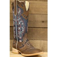 Rockin Leather Wide Square Toe Tall Distressed Brown Womens Western Boots 2127