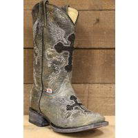Rockin Leather Square Toe with Cross Inlay Grey Crater Womens Western Boots 2146