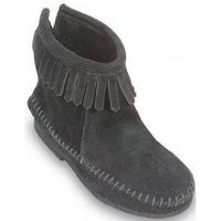 Minnetonka Zip Ankle Boot Black Suede Kids Boots 2289MIN