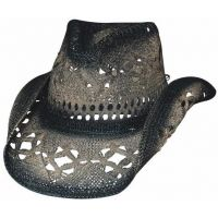 2355BL Scorched Black Straw Hat