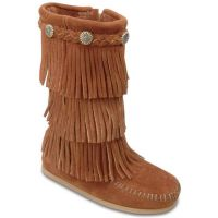 Minnetonka Fringe Boot Brown Suede Kids Boot 2652MIN