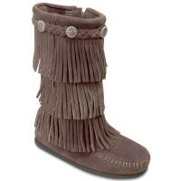 Dusty Brown 3-Layer Fringe Side Zipper Minnetonka Moccasins Kids Boots