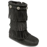 Minnetonka 3-Layer Fringe Boot Black Suede Kids Boot 2659MIN