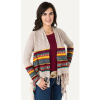 Noble Outfitters Frontier Fringe Cardigan Womens Long Sleeve Top