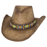 2882 LOVE MYSELF Brown Straw Bullhide Hat by Monte Carlo Hat Co.