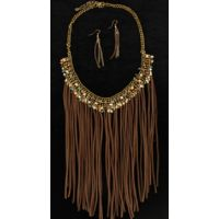30842 Beaded Leather Fringe Blazin Roxx Women's Jewelry Set