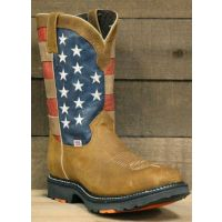 RockinLeather Mens American Flag Steel Toe Work Boot 3110