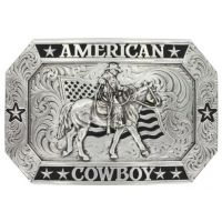 Montana Silversmith Antiqued American Cowboy Buckle with Riding for the Brand Figure 34610RTS-931L
