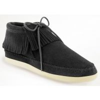 459-MIN VENICE Black Suede Fringe Low Minntonka Moccasin Ladies Boots