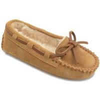 Minnetonka Cassie Tan Suede Pile Lined Kids Slipper 4811MIN