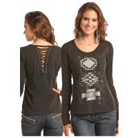 Panhandle Slim Grey Aztex Graphic Laceup Back Long Sleeve Womens Shirt 48T7448