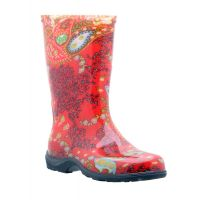 Sloggers Paisley Red Print Womens Rain and Garden Boots 5004
