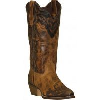 5026 Brown Two-Tone Wingtip 12inch Shaft Womens Western Cowboy Boots