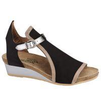 Naot Black Velvet/Khaki Beige Fiona Womens Wedge Sandals 5042