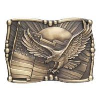 507 Sculpted American Flag AndWest Belt Buckle