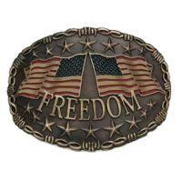 545 Antique Brass Freedom AndWest Belt Buckle