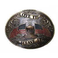 594 Love It or Leave It With American Flags AndWest Belt Buckle