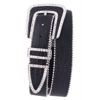 Black Rhinestone Studded Buckle Leather Womens Kamberley Group Belt