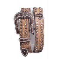 6055 Rhinestone Studded Cross Leather Kamberley Group Womens Belt