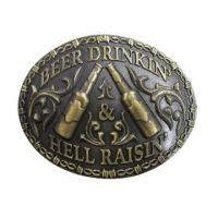 613-06 Antique Brass Beer Drinkin Hell Raisin AndWest Belt Buckle