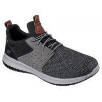 Skechers Black/Gray Delson Camben Mens Comfort Shoes 65474