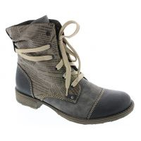 Rieker Blue Lace-Up Look with Zipper Inside Womens Short Boot 70822-15