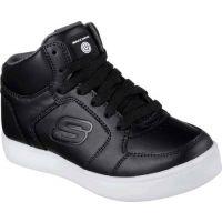 Skechers Energy Lights Hi Black Leather Kids Skate 90600-BLK