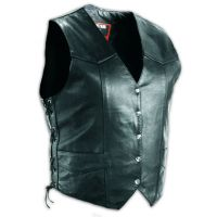 I1302/5156 Leather Front Pockets & Snaps Motorcycle Mens Vests