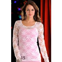 J8T9263 All Over Lace Long Sleeve Knit Panhandle Slim Womens Shirts