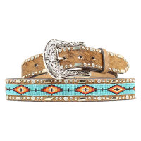 A1515402 Brown Cowhide with Turquoise Aztec Beaded Center Western Belt
