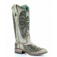 Corral Turquoise Cross & Wings Overlay & Studs Ladies Boots A3743