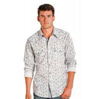 Panhandle Slim Rock & Roll Cowboy Stone Washed Paisley Print Mens Long Sleeve Shirt B2S5714