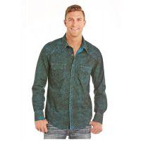 Panhandle Slim Rock & Roll Cowboy Black Spray Washed Paisley Mens Long Sleeve Shirt B2S5729