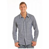 Panhandle Slim Rock & Roll Cowboy Striated Chambray Solid Mens Long Sleeve Shirt B2S5736