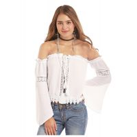 Panhandle Slim Rock & Roll Cowgirl White Off The Shoulder Button Blouse B4B5786
