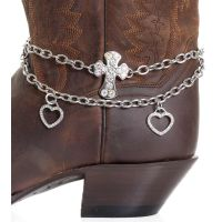 BA313 Silver Kamberley Womens Heart & Cross Boot Chain