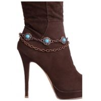 BA322 Copper and Turquoise Stone Studded Boot Chain