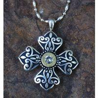 BLKCROSSWSHELL Black Cross with Shell & Primer Necklace
