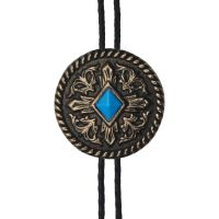 BOL103 Men's Andwest Brass with Turquoise Diamond Bolo Tie