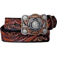Justin Dancing Feathers with Buffalo Nickle Buckle On Mens Belt C12583
