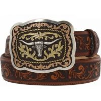 Leegin Tan San Antonio with Leaf Tooling Western Mens Belts C12594