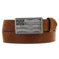 C12685 Brown Leather Flying High American Flag Buckle Justin Mens Belt